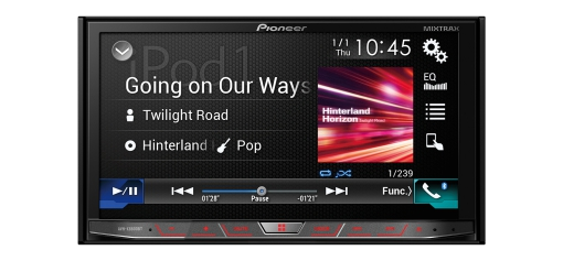 "AVH-X8800BT 7"" Clear Type Resistive WGVA touchscreen multimedia player with easy smartphone connectivity via Apple CarPlay, Android Auto, AppRadio Mode and Bluetooth, supporting MIXTRAX, CD/DVD, Dual USB and an FM tuner"